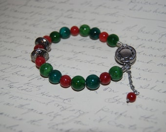 Green Red Jade Stone Bracelet with Silver Metal Accent