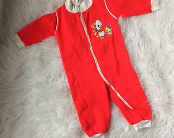 Vintage Baby Boys Girls Ducks One Piece Pajamas Size 12 Months