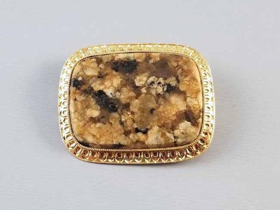 Antique Victorian 14k gold brown agate jasper hardstone brooch pin