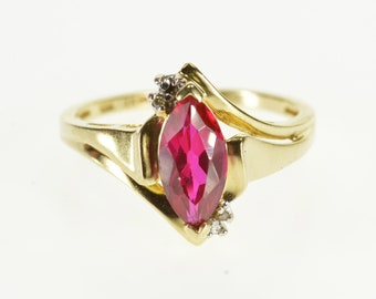 10k Marquise Ruby* Diamond Accent Pointed Freeform Ring Gold