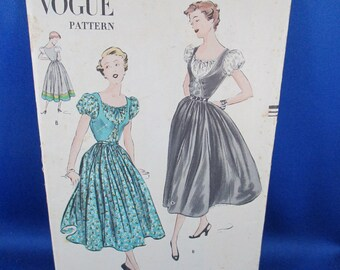 50s Gown PATTERN - UNCUT Vogue Pattern 3334 - Designer One Piece Dress sewing pattern- Size 11 30 1/2 Bust 34 1/2 Hip