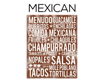 Mexican Food Poster - Mexican Word Art - Various Sizes & Colors