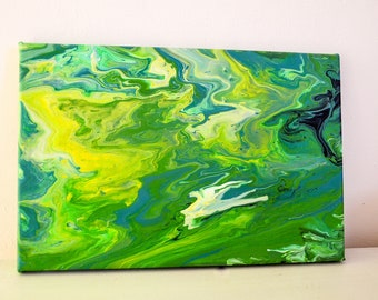 "Abstract acrylic painting ""Awakening Spring"" on canvas with wooden frame"