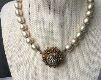 Vintage Mariam Haskell Baroque Pearl Choker Necklace, Elegant Estate Jewelry