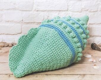 DMC 15384L/2 Shell Cushion Crochet Pattern designed by Zoe Halstead
