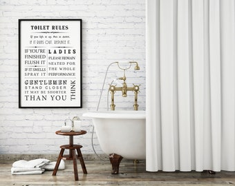 Funny toilet sign, loo sign, funny toilet print, typography print, toilet poster, bathroom print, quote print, funny quote, wall decor,