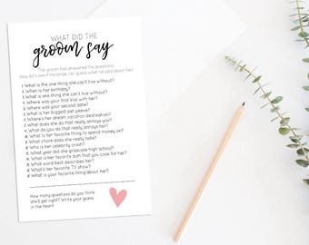 What Did the Groom Say Bridal Shower Game, Bridal Shower Quiz,  Printable Wedding Shower Game, Couples Shower, Instant Download 003BDS