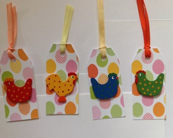 Tags for Easter, gift, set of 4, chickens and eggs label