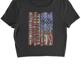 USA Flag California Bear Cropped T-Shirt