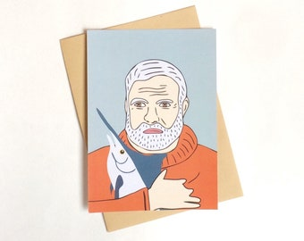 Ernest Hemingway postcard, 4.1''x5.8''
