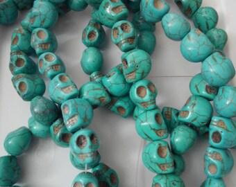 howlite skull beads, 4 strands, 20 mm turquoise