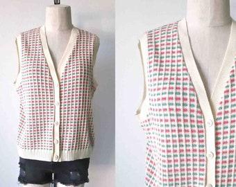 Pull vintage des années 1970 gilet en grille tricot bouton up - M/L