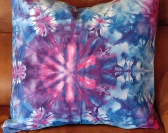 Decorative Throw Pillow Ice Dyed One of a Kind in Purple Blue and Pink  Navy Blue Back 18 by 18 inches Square for Couch or Bed Room Decor
