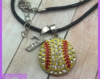 Personalized Softball Necklace - Softball Gifts, Softball Team Gift Large Pendant with Numbers, Softball Mom, Softball Player, Coaches Gift