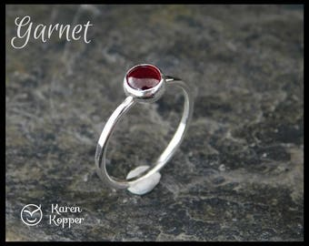 Size 4.5 ready to ship! Red Garnet sterling silver ring, 5mm, hammered. Skinny ring, thin ring, stacking ring. January birthstone. 207