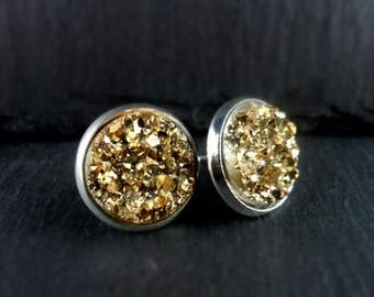 Earrings, earrings, Stud Earrings, Cabochon, glitter, resin, silver, 1 pair, gold, 275