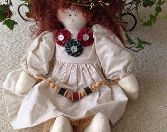 CLEARANCE Vintage Cloth Doll Angel In Cream with Dark  Red and Dark Green Accents, Brownish Red Hair (1990's)