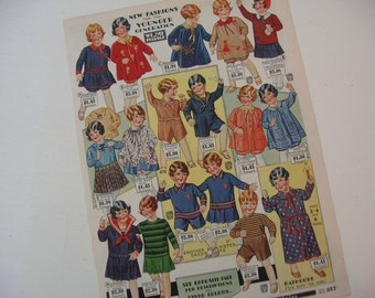 Vintage Sears & Roebuck Catalog Page 1930 Children's Fashions Ephemera