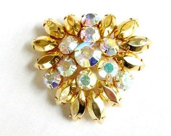 Gold Rhinestones Brooch with Aurora Borealis Vintage Juliana Style