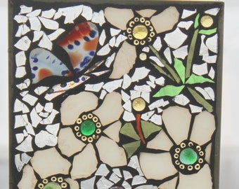 White Flowers with fused Butterfly . Stained Glass SunCatcher or wall Decoration