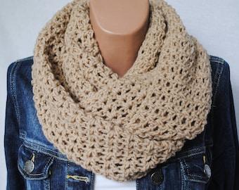 Crochet infinity scarf - Chunky infinity scarf - Beige Scarf - Knit infinity scarf