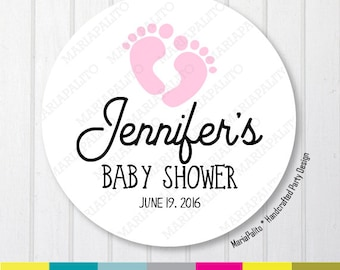 Baby Shower Stickers, Thank You Baby Feet Stickers, Thank You Labels, PRINTED round Stickers, tags, Labels or Envelope Seals A1263