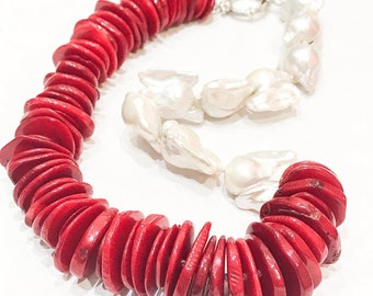 Bamboo Coral and Freshwater Pearl Necklace