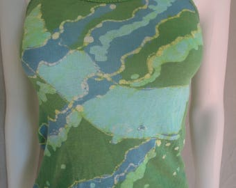 Hand Crafted Batik Whale Ocean Design Tie Die Green Blue Cotton Tank Top 60s 70s Vintage Size Ladies Womens Small Youth Large