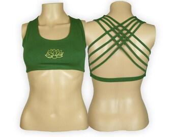 Lotus Green Yoga Bra Top -Lotus Flower Criss Cross design workout bra - Athletic bra - sports bra - Hot Yoga Bra Top - Lycra Cotton Blend