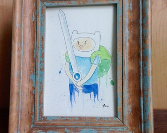 Original Watercolor - Finn the Human from Adventure Time (Finn Sword Variant) - 4x6 Painting