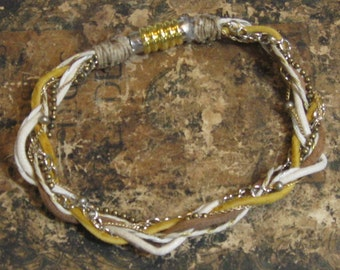 SteamPunk Leather and Chainmaille Bracelet/Natural Colored Leather and Metal Bracelet