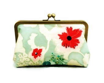 Floral Clutch, Kisslock, Flower Purse, Poppy, Pink Clutch, Light Blue, Gold Frame, Everyday Bag