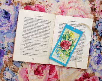 Hand painted bookmark Pink rose bookmark Blue bookmark French bookmark Small cute gift Ribbon bookmark Pink bookmark PaintingOnlineStore