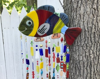 Fused Glass Wind Chime Smiling Fish
