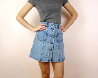 Vintage 80s 90s Acid Wash Denim Jeans A line skirt Small
