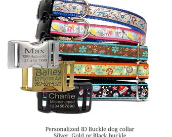Engraved buckle dog collar Personalized ID tag buckle dog collar Cute girl dog collar Cool boy dog collar Rock Skull Flower Peace and love