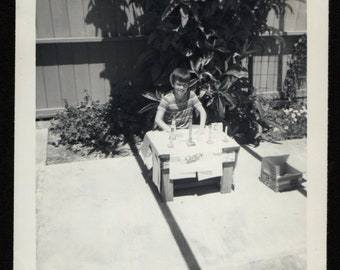 Vintage Snapshot Young Boy Selling Fireworks at Homemade Stand 1960's, Original Found Photo, Vernacular Photography