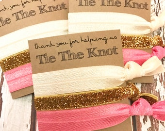 Bridesmaids Gift  Hair Ties | Thank you for helping us tie the knot | Wedding  - Bridal Party Favors - CHOOSE your colors