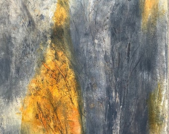 Grief, 16 by 20, oil on cradled wood panel with 1.5 inch profile, original, one of a kind, abstract, modern interior design, gold, gray-blue