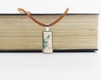 Book Charm Pendant - Bookworm for Her - Rectangular Pendant - Leather - Bookworm Gifts - Book Lovers Jewelry - Leaf - Book Charm - (M8116)