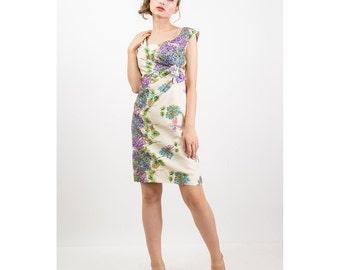 Helena BARBIERI / Vintage silk sequin cocktail dress / Hydragneas and butterflies