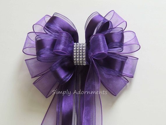 Purple Wedding Pew Bow Purple Church Aisle Decoration Bow Purple Wreath Bow Purple Birthday Party Decor Purple Shower Bow Birthday Gift Bow