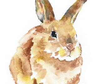 Bunny Rabbit Watercolor Painting Giclee Print 5x7 Nursery Art -Woodland Animal Art