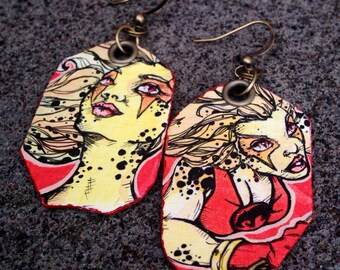 Speed Demon - classic Cheetara Thundercats hand-painted earrings - comic book style