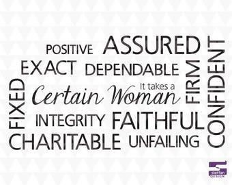 Features of a Certain Woman - SVG, PDF, JPEG, cricut downloads, lds svg, christian word art