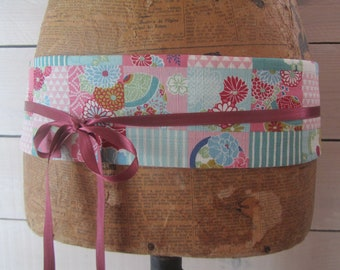"Obi belt reversible in Japanese floral fabric ""pink square"""