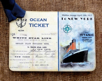 Titanic Ship Ticket Gift or Scrapbook Tags or Magnet #431
