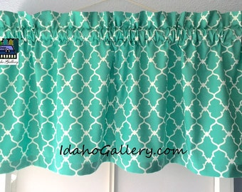 "Turquoise Curtain Aztec Geometric Lattice Trellis Quatrefoil 11"" long x 42"" wide Bedroom Curtain Kitchen Curtain Window Treatment Valance"