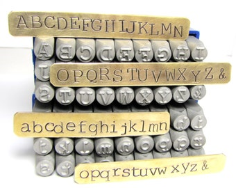 Typewriter Letters, big 6 mm letters, upper case, lower case, Metal stamps1/4 inch Alphabet stamps, large 6 mm letters