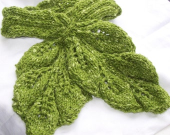 Instant Download pdf Hand Knitting Pattern - Leafy Cable Neck warmer
